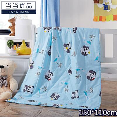 当当优品 全棉印花水洗夏凉被 空调被 午睡被 熊猫乐园(蓝)150*110cm当当自营 纯棉面料 环保印染0刺激 可水洗不变形