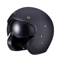 古宾 四分之三玻璃钢半覆式头盔复古摩托车太子盔男女四季哈雷半盔 黑色