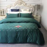 夏季床上四件套纯棉1.5m1.8m床上用品简约60支长绒棉刺绣全棉床单 2.0m床 被套220x240cm