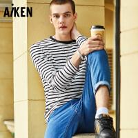 【一件三折】森马旗下Aiken爱肯男装潮流休闲纯棉宽松条纹长袖T恤上衣韩版