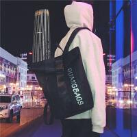 校园学生双肩包2018新款反光字母学生男女包时尚街头潮流休闲背包
