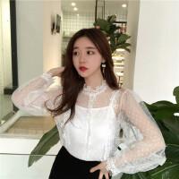 春装新款女装韩版chic蝴蝶结点点网纱蕾丝长袖两件套气质上衣