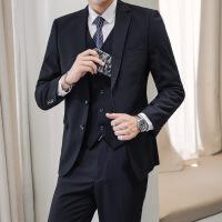 №【2019新款】冬天穿的西服套装男2018新款韩版修身加绒三件套商务休闲发型师小西装