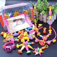 儿童波普串珠益智玩具diy手工制作材料包女孩项链无绳穿珠子手链