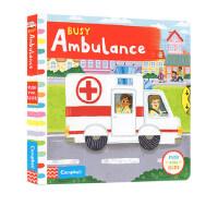 【全店300减100】英文原版 儿童读物Busy系列 Busy Ambulance 忙碌的救护车 纸板机关操作活动书 幼