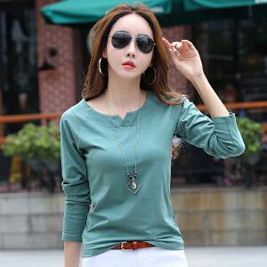 长袖T恤女秋装新款女士小V领打底衫韩版修身显瘦简约大码上衣