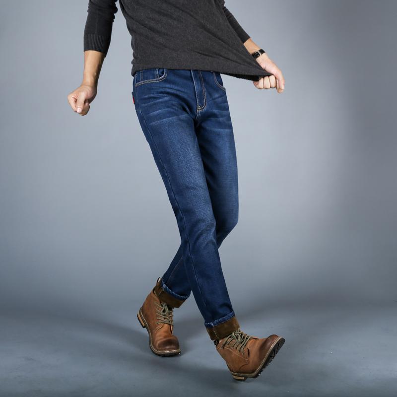冬季男士牛仔裤直筒修身青年长裤子弹力加绒加厚保暖宽松带绒秋款轻奢加绒牛仔 保暖