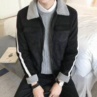 2018冬季新款外套男加绒加厚修身羊羔毛棉衣棉