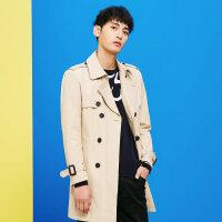 【1件4折到手价:216】美特斯邦威夹克男新款中长款韩版潮流风衣外套