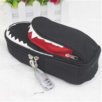 韩国文具 个性创意鲨鱼笔袋 大容量帆布笔袋 带密码锁 黑色