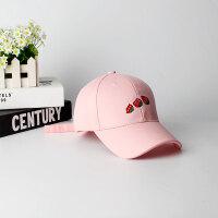 软妹草莓棒球帽女韩版百搭学生遮阳帽子女晒休闲百搭鸭舌帽 草莓粉色 草莓 可调节