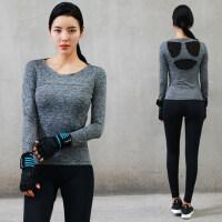 韩版女士瑜伽服套装速干健身房运动裤 新款晨跑步显瘦瑜珈衣女长袖T恤