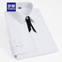 【补贴价:39】罗蒙女士纯色长袖衬衫职业工装上衣气质优雅修身