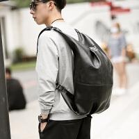 韩版双肩包男大容量学生书包日系简约电脑背包多功能饺子单肩包潮