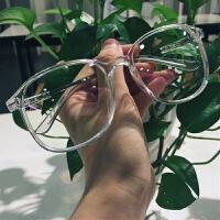 韩版明星同款平光镜白色透明框架眼镜 男女潮 防辐射可配近视镜框