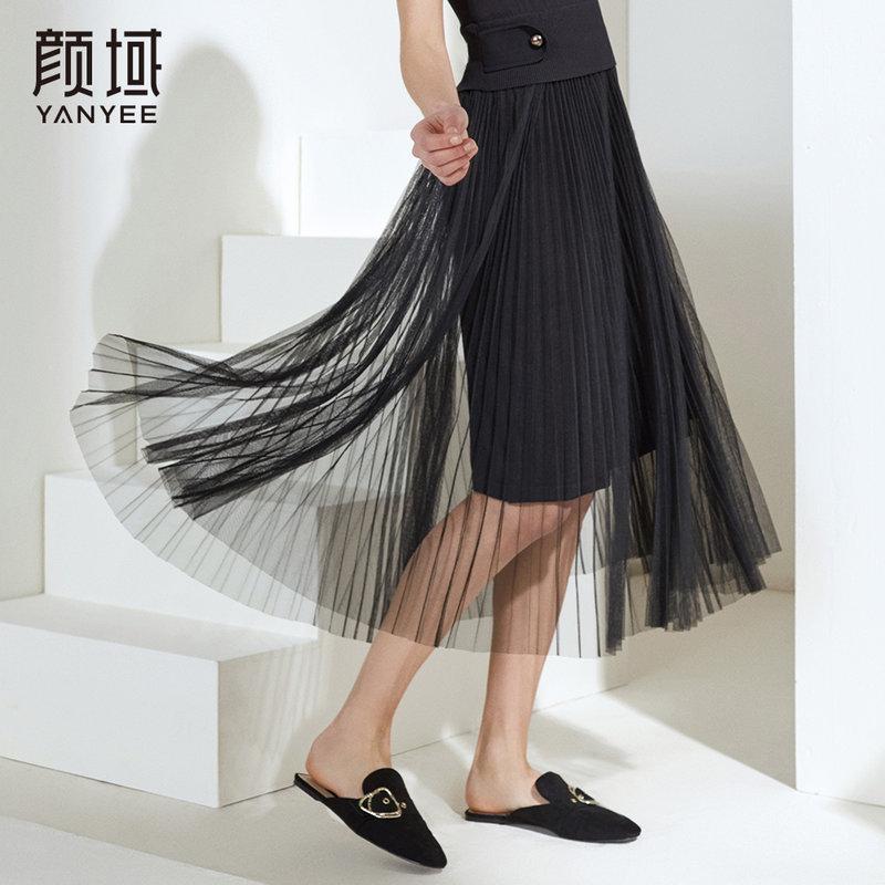 颜域品牌女装2018夏季新款百褶网纱半身裙中长款黑色双层蓬蓬裙女