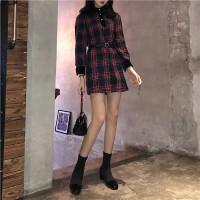 2018新款女装春装复古格子连衣裙女收腰百搭A字裙包臀短裙送皮带