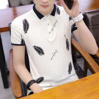 男士POLO衫翻领短袖男T恤青年半袖韩版潮流修身衣服夏季印花汗衫