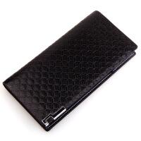 男士长款钱包时尚格纹 商务钱夹 男士钱包长款 钱包男短款 黑色502-3 内拉链