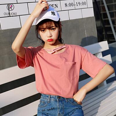 【618大促-每满100减50】欧若珂  2018夏韩版新款交叉细带T恤女