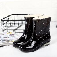 雨鞋女中筒加绒保暖防水鞋冬季加棉短筒雨靴防滑水靴胶鞋 回力523黑粉点 固定绒不可拆 建议拍大2码