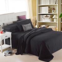 韩式双拼四件套1.5m床加厚双人床单被套被罩纯色床单磨毛三件套