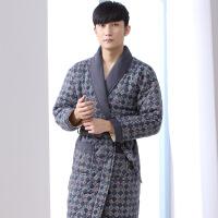 冬季男士睡袍三层夹棉袄保暖睡衣中老年人加棉加厚加长款浴袍