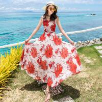 2018夏女装V领无袖雪纺连衣裙波西米亚海边度假沙滩长裙