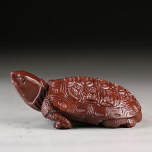 寿山月尾紫石 精雕龟寿延年摆件 p3508