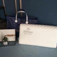 希尔顿酒店级乳胶枕 泰国进口乳胶 护颈椎按摩枕芯 白色
