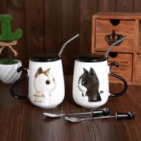 可爱情侣杯子一对猫咪陶瓷带盖勺马克杯 简约个性办公牛奶吸管水杯