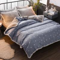 新品秒杀韩版珊瑚绒四件套保暖冬季被套法莱绒加大2.2米床上床笠款法兰绒