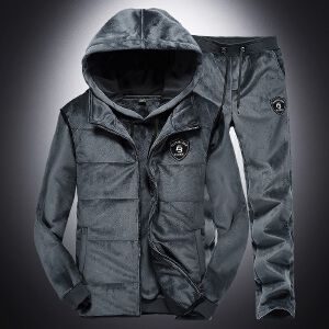 战地吉普AFS JEEP运动3件套秋冬男士户外运动卫衣套装双面绒保暖三件套连帽加绒背心
