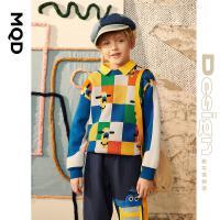 【2件3折后价:150】【设计师系列】MQD童装男童格纹毛衣21秋季新款儿童趣味图针织衫