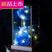 永生花diy玻璃罩玫瑰花玫瑰熊纪念生日礼盒七夕情人节礼物