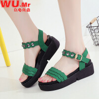 乌龟先森 凉鞋 女士夏季新款时尚气质女式平跟休闲厚底防滑坡跟平底学生女款鞋子