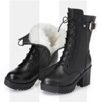 羊毛靴女棉鞋真皮短靴高跟中筒靴粗跟英伦风马丁靴女中跟防水SN8261 黑色 【羊毛内里】 【288】