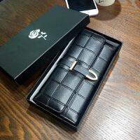 钱包女士长款2018新款韩版潮个性多功能搭扣复古手机零钱夹女皮夹