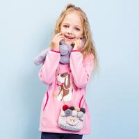 【秒杀价:99元】暇步士童装冬季新款女童加绒卫衣保暖套头印花卫衣儿童卫衣