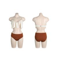 韩国情侣比基尼小胸聚拢钢托bikini男士沙滩裤抹胸高腰温泉泳衣女