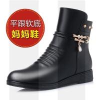 秋冬款����短靴中年棉鞋平底真皮女靴中老年女鞋加�q保暖老鞋SN4529
