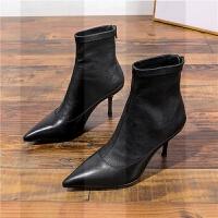 2018冬欧美百搭真皮短靴女后拉链尖头细跟高跟性感包腿弹力靴裸靴SN2878