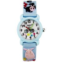 小孩幼儿儿童宝宝女童手表女孩3岁8岁男卡通可爱防水小学生石英表 蓝色 小猪一家