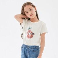 【1件2.5折到手价:28.8】米喜迪mecity童装夏新款女童洋气t恤趣味印花韩版短袖t恤