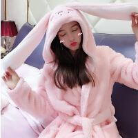 卡通睡袍女大耳朵兔可爱加厚冬款浴袍浴衣珊瑚绒超萌宽松韩版睡衣