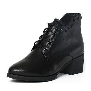 Tata/他她冬牛皮通勤风铆钉绑带粗跟女短靴2Q947DD6
