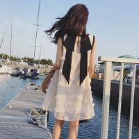 裙子夏女2018新款潮 甜美小清新无袖A字连衣裙娃娃裙少女心仙女裙 白色 实物是杏色