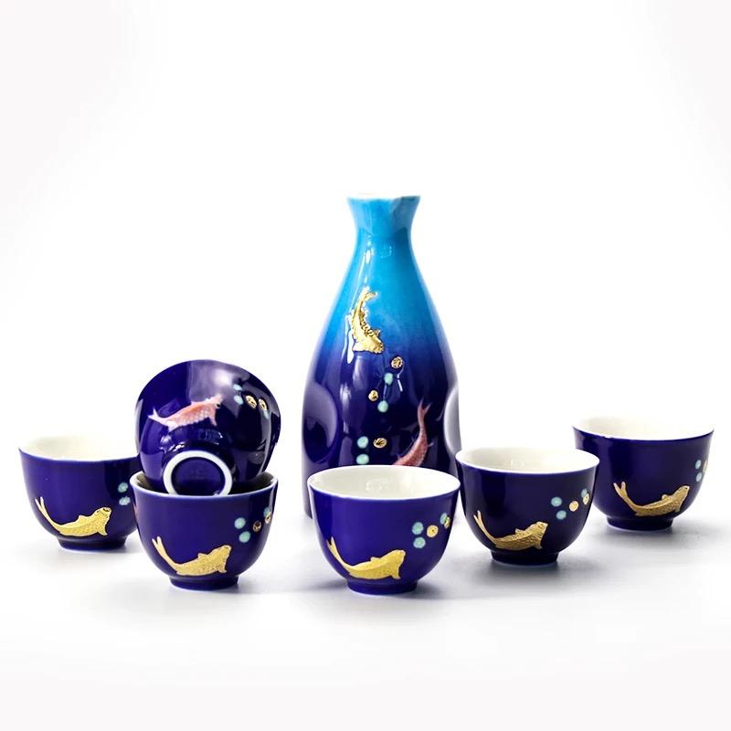 乾唐轩活瓷 双鱼酒器喷绘宝蓝鎏金1壶6杯陶瓷套件酒壶白酒