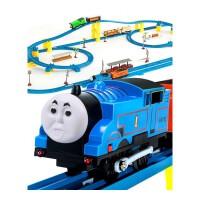 奋发托马斯小火车 音乐轨道车大型电动火车玩具套装 87件装-3车头 抖音
