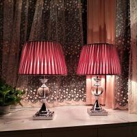 欧式温馨简约现代浪漫水晶台灯 卧室床头灯结婚创意美式婚房n6i